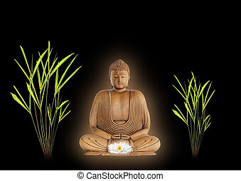 Buddha Peace - Buddha with golden aura in prayer holding a...