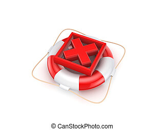 Red cross mark on lifebuoy.Isolated on white background.3d...