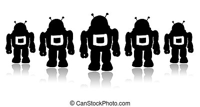 Robots - Silhouettes team black robots on a white background