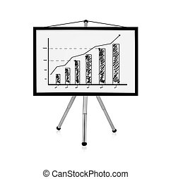 flip chart with chart - flip chart with drawing business...