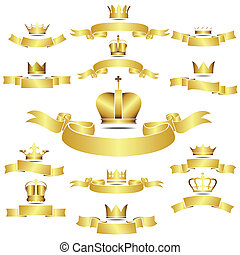 Set of vector golden crown