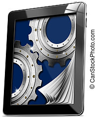 Tablet computer with Pages and Gears