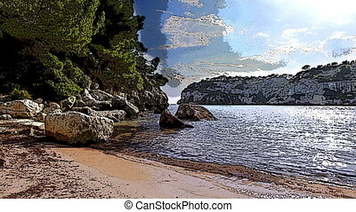 beautiful coastline and crystal blue sea, menorca, Balearic...