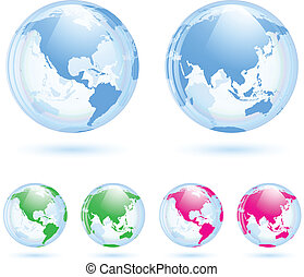 Earth globes set - The collection of different glass earth...