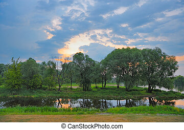 Twilight spring landscape with flood waters - Twilight...