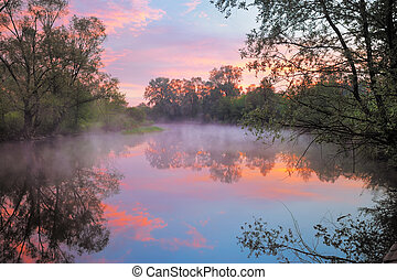Warm pink sky over the Narew river, Poland - The morning...