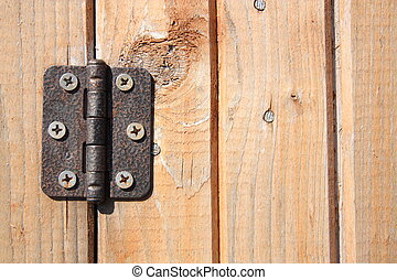 Door hinge - Vintage door hinge on wooden door
