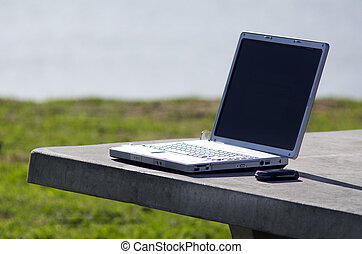 Environmental office - Concept photo of a laptop on a table...