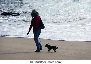 Dog owner walks his dog - CABEL BAY, NZ - MAY 09:Woman dog...