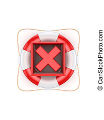 Red cross mark on lifebuoyIsolated on white background3d...