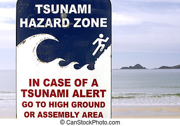 Tsunami evacuation route sign in a coastal area.