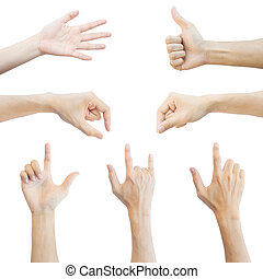 Photo Set of many different hands mix over white isolated...