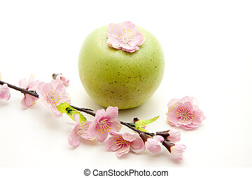 Green apple   - Green apple with flowering branch