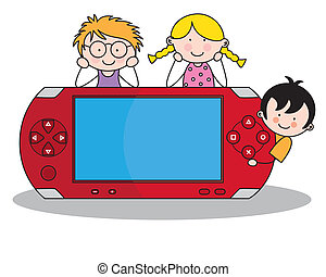 children with a console