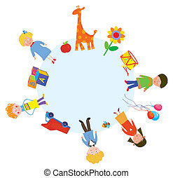 Children and toys in the circle design