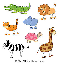 Vector Cartoon Animals - Vector Set of Cartoon Animals