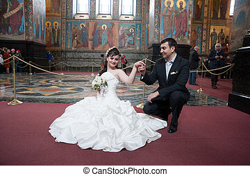 Bride and groom in the church museum
