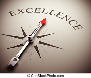 Business Excellence Concept - Compass needle pointing the...