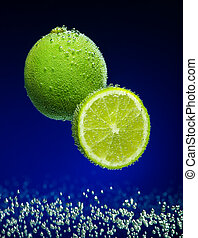 Beautiful lime close-up photo with carbon dioxide bubbles