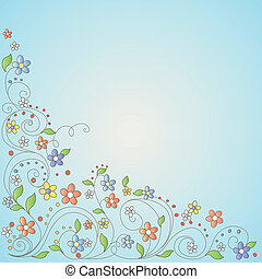 Background with flowers, vector illustration