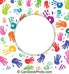 Vector Background with Colorful Hand prints