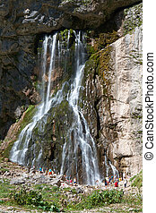 Waterfall mountain in Abkhazia Caucasus Mountains