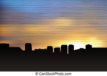 City scape at night - City scape at sunset. Vector...