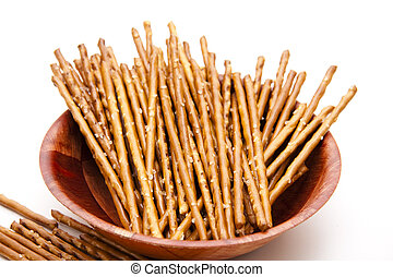 Saltsticks in wooden bowl