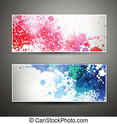 Vector Banners with Blots - Vector Illustration of Two...