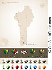 Benin - Republic of Benin and Africa maps, plus extra set of...