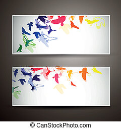 Vector Banners with Colorful Birds