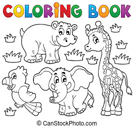 Coloring book African fauna 1 - eps10 vector illustration.