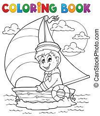 coloração, livro, marinheiro, tema, 1