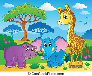 Cute African animals theme image 1 - eps10 vector...