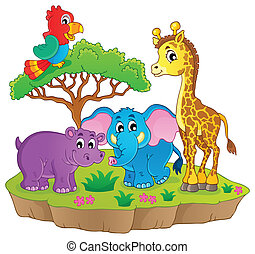 Cute African animals theme image 2 - eps10 vector...