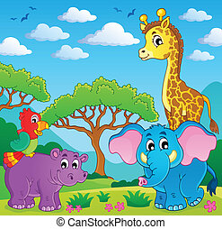 Cute African animals theme image 5 - eps10 vector...