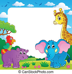 Frame with African fauna 1 - eps10 vector illustration