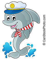 Image with dolphin theme 1 - eps10 vector illustration.