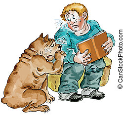 Boy and his dog crying - Boy Reading a sad Book Together...
