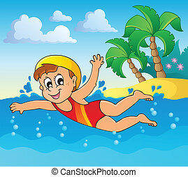 Swimming theme image 2 - eps10 vector illustration.