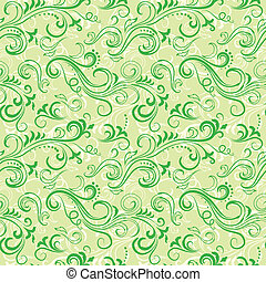 Green seamless floral pattern - Green seamless swirly floral...