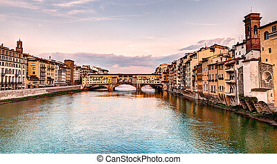 Ponte Vecchio, Florence, Italy - landscape at sunset of...