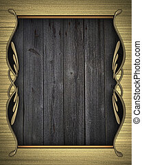Gold background with a wooden nameplate with gold pattern