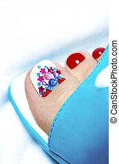 Multicolored pedicure. - Multicolored pedicure in blue...