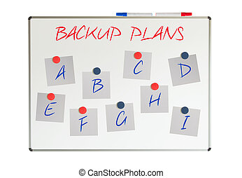 Backup plans on papers on a whiteboard, isolated on white