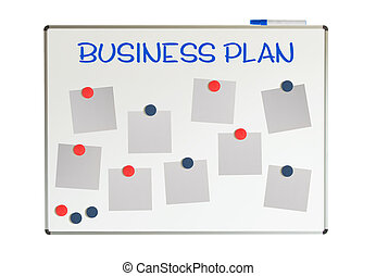 Business plan with empty papers and magnets on a whiteboard,...