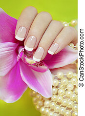 Classic French manicure - Classic French manicure with...