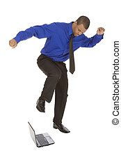 Businessman - African American businessman kicking a...