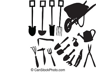 Garden Tools - Garden tools gardening tools set vector...