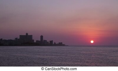 La Habana skyline, sea sunset, Cuba